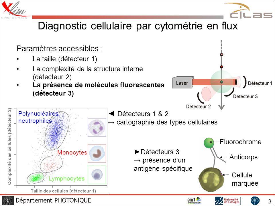 4 La fluorescence en cytométrie Rappel sur la fluorescence : Excitation à une longueur d onde λ 1 Émission une longueur d onde λ 2 Niveau fondamental Niveaux excités λ1λ1 λ2λ2 1,8-ANS Alexa Fluor 488 5-ROX TOTO-3 Alexa Fluor 750 Une source par λ d excitation Sauf cas particulier :