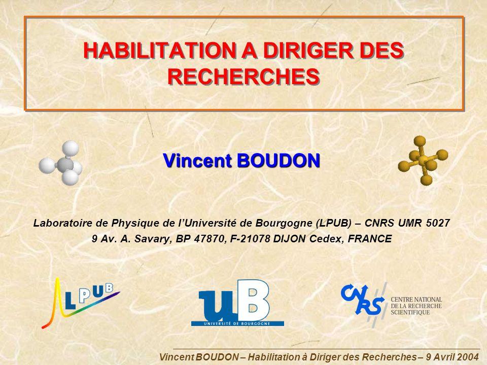 HABILITATION A DIRIGER DES RECHERCHES Vincent BOUDON Laboratoire de Physique de lUniversité de Bourgogne (LPUB) – CNRS UMR 5027 9 Av. A. Savary, BP 47
