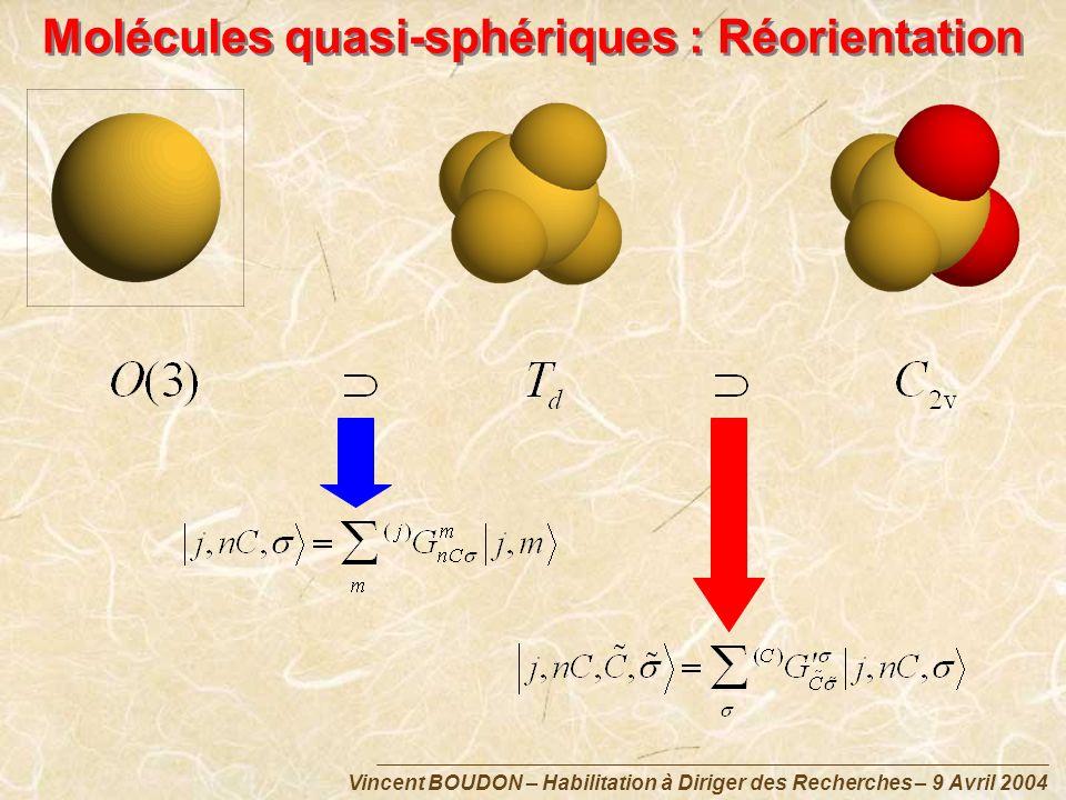 Vincent BOUDON – Habilitation à Diriger des Recherches – 9 Avril 2004 Molécules quasi-sphériques : Réorientation