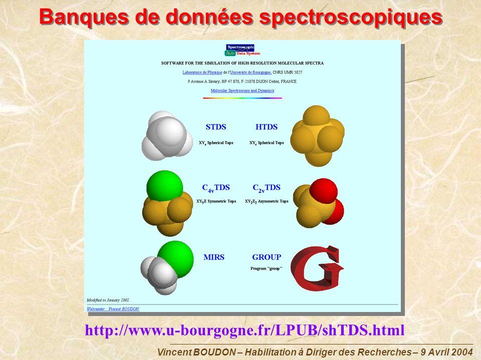 Vincent BOUDON – Habilitation à Diriger des Recherches – 9 Avril 2004 Banques de données spectroscopiques http://www.u-bourgogne.fr/LPUB/shTDS.html