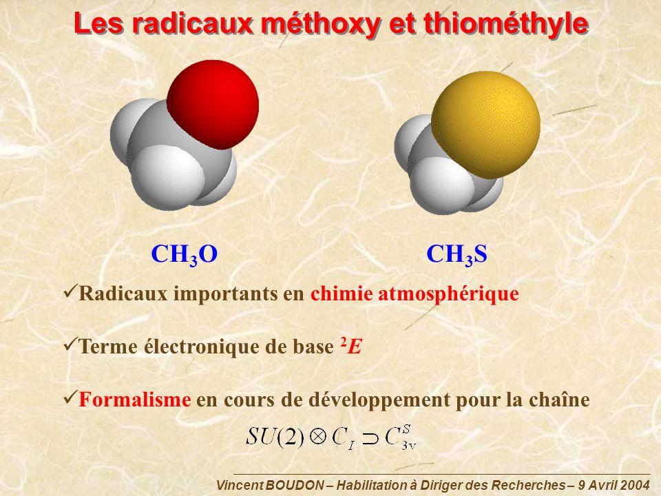 Vincent BOUDON – Habilitation à Diriger des Recherches – 9 Avril 2004 Les radicaux méthoxy et thiométhyle CH 3 OCH 3 S Radicaux importants en chimie a