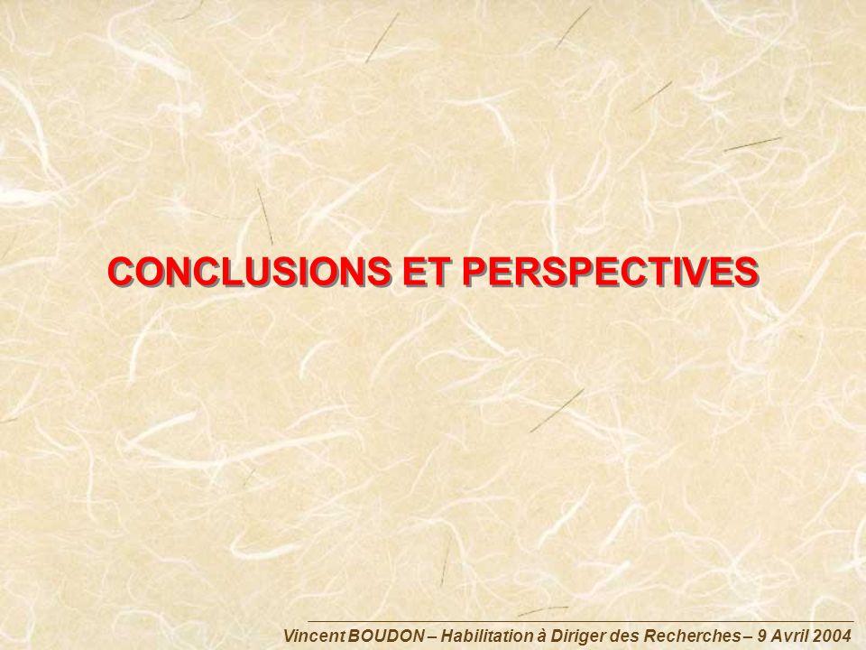 Vincent BOUDON – Habilitation à Diriger des Recherches – 9 Avril 2004 CONCLUSIONS ET PERSPECTIVES