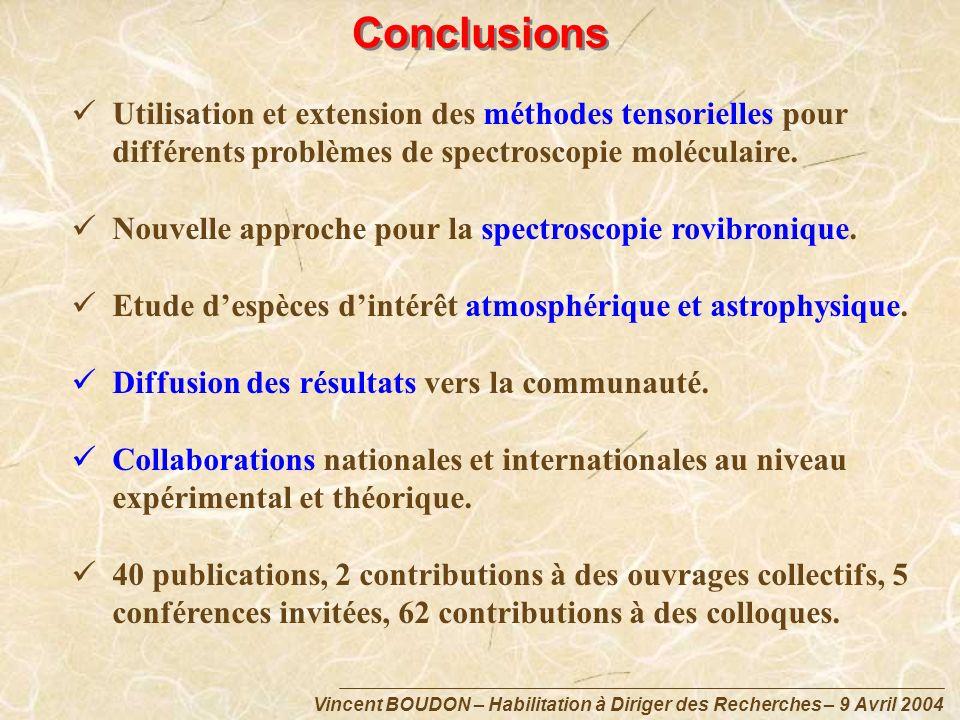Vincent BOUDON – Habilitation à Diriger des Recherches – 9 Avril 2004 Conclusions Utilisation et extension des méthodes tensorielles pour différents p