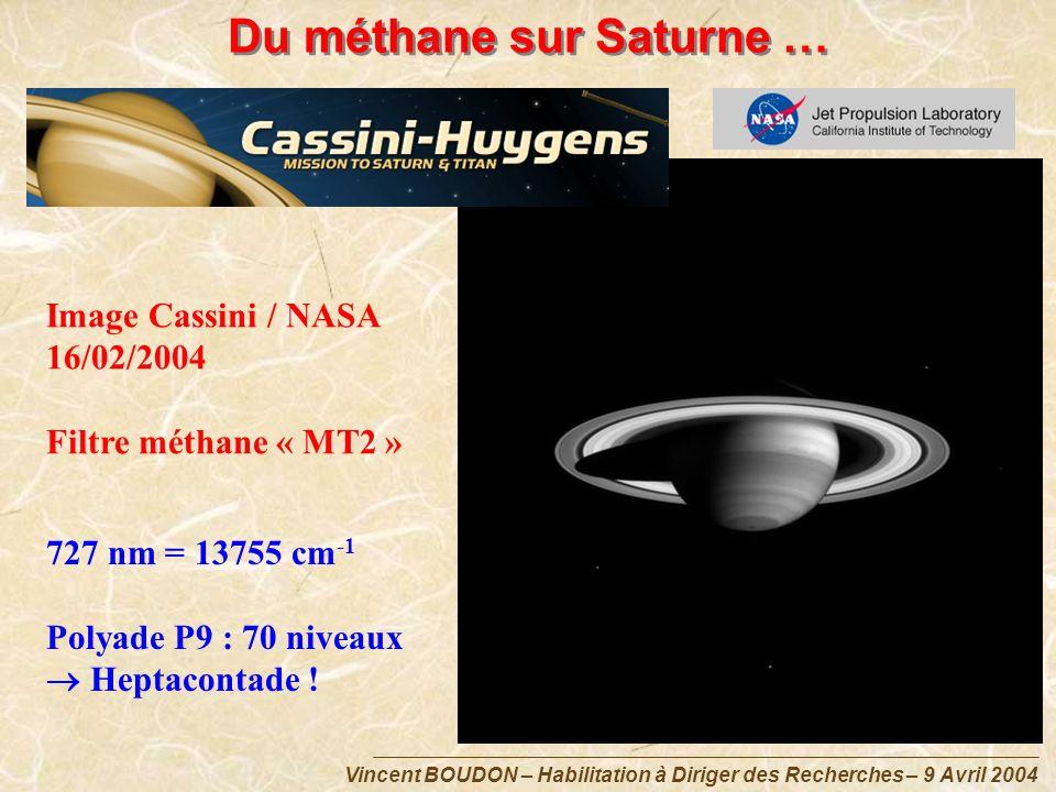 Du méthane sur Saturne … Image Cassini / NASA 16/02/2004 Filtre méthane « MT2 » 727 nm = 13755 cm -1 Polyade P9 : 70 niveaux Heptacontade !