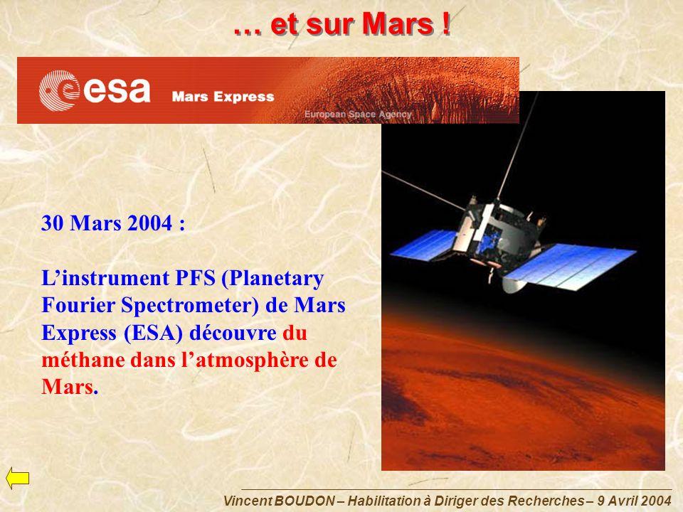 Vincent BOUDON – Habilitation à Diriger des Recherches – 9 Avril 2004 … et sur Mars ! 30 Mars 2004 : Linstrument PFS (Planetary Fourier Spectrometer)