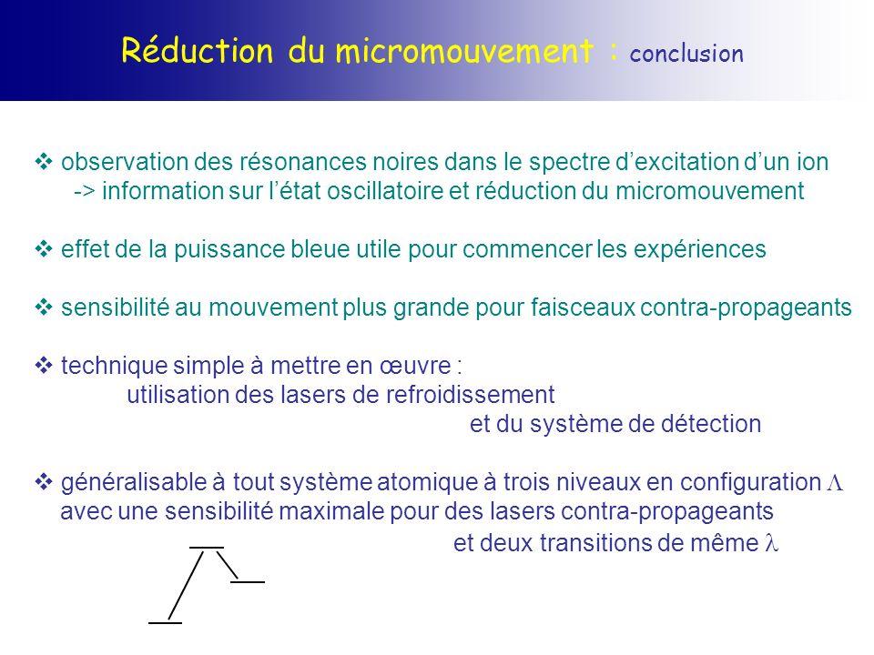 Réduction du micromouvement : conclusion observation des résonances noires dans le spectre dexcitation dun ion -> information sur létat oscillatoire e