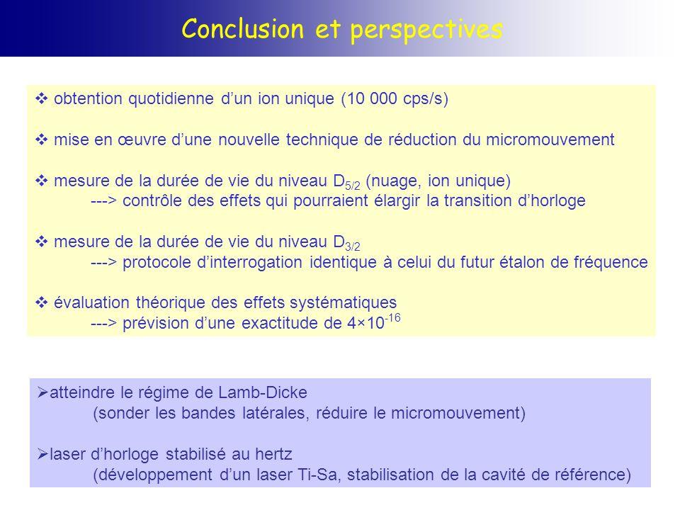Conclusion et perspectives obtention quotidienne dun ion unique (10 000 cps/s) mise en œuvre dune nouvelle technique de réduction du micromouvement me