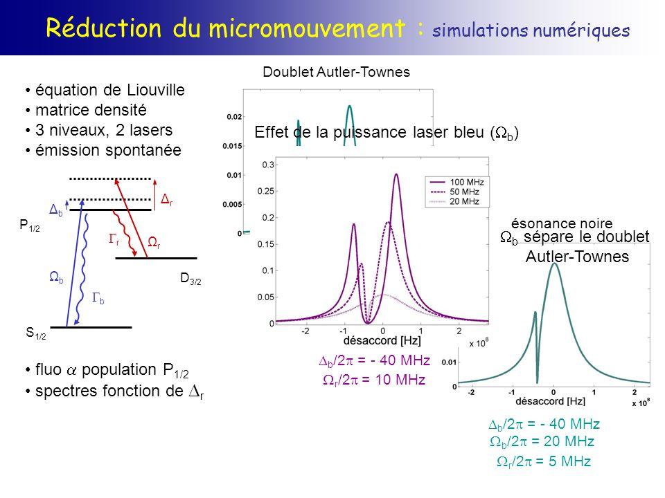 Réduction du micromouvement : simulations numériques équation de Liouville matrice densité 3 niveaux, 2 lasers émission spontanée fluo population P 1/