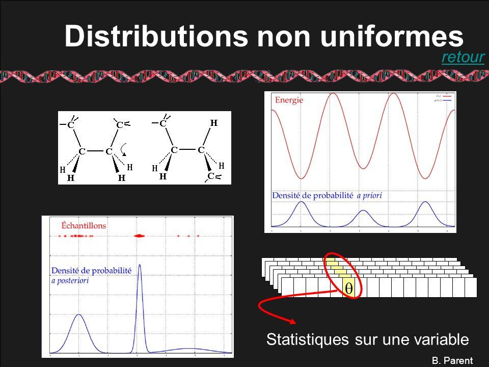 B. Parent Distributions non uniformes Statistiques sur une variable retour