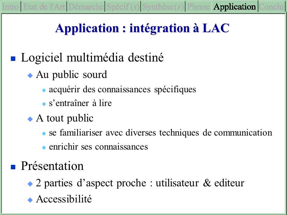 Application : intégration à LAC Logiciel multimédia destiné Au public sourd acquérir des connaissances spécifiques sentraîner à lire A tout public se