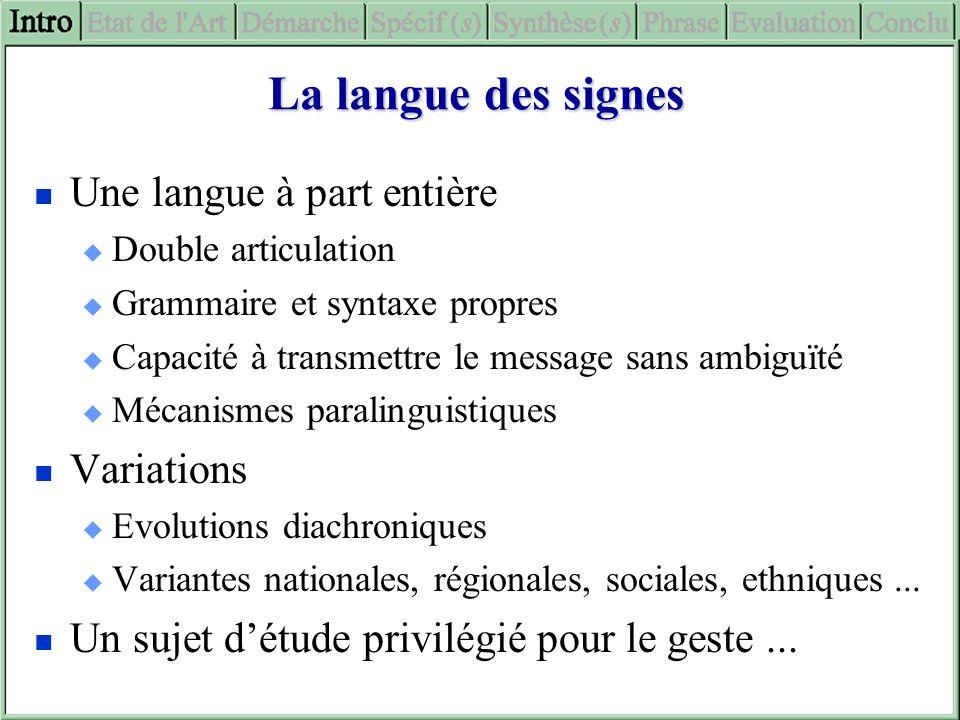 La langue des signes Une langue à part entière Double articulation Grammaire et syntaxe propres Capacité à transmettre le message sans ambiguïté Mécan