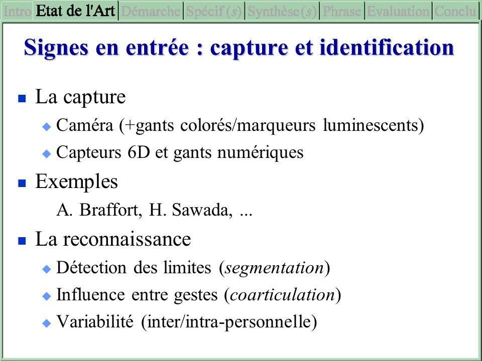 Signes en entrée : capture et identification La capture Caméra (+gants colorés/marqueurs luminescents) Capteurs 6D et gants numériques Exemples A. Bra