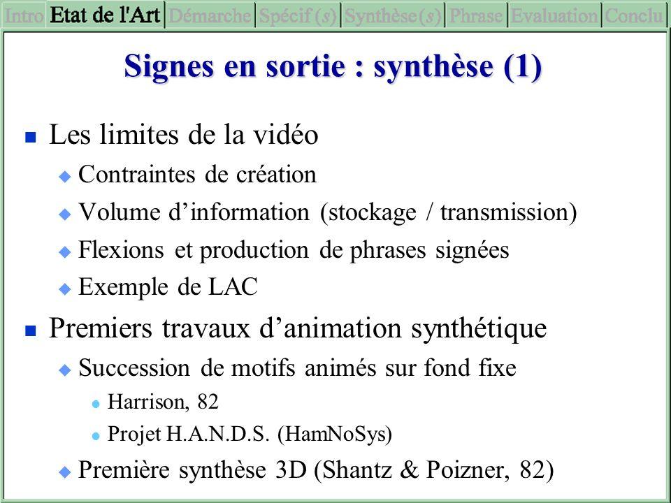 Signes en sortie : synthèse (1) Les limites de la vidéo Contraintes de création Volume dinformation (stockage / transmission) Flexions et production d