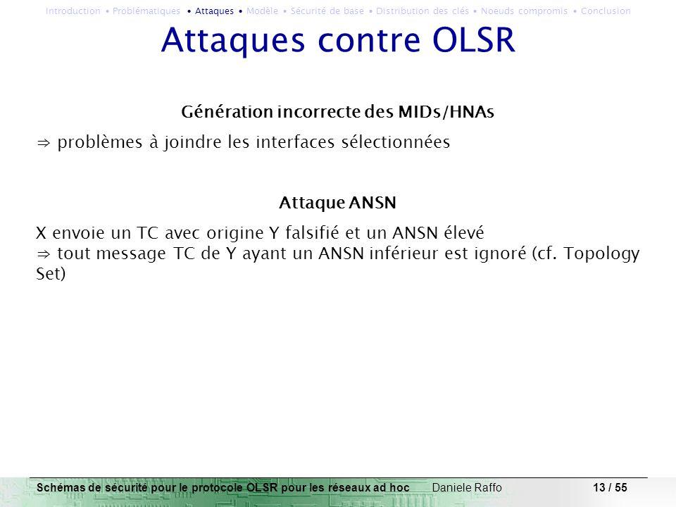 13 / 55 Attaques contre OLSR Génération incorrecte des MIDs/HNAs problèmes à joindre les interfaces sélectionnées Attaque ANSN X envoie un TC avec ori