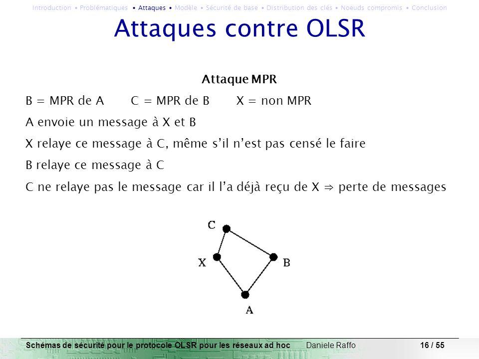 16 / 55 Attaques contre OLSR Attaque MPR B = MPR de A C = MPR de B X = non MPR A envoie un message à X et B X relaye ce message à C, même sil nest pas