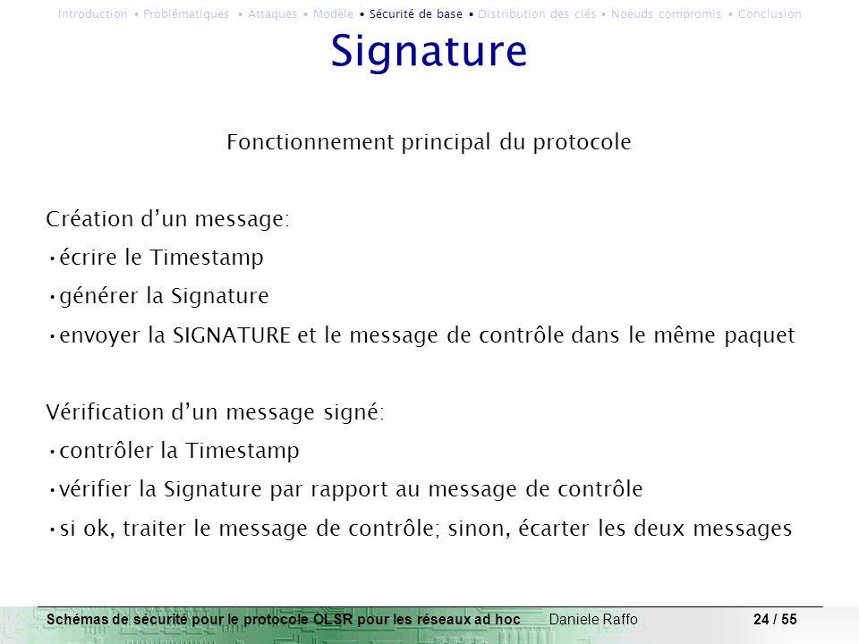 24 / 55 Signature Fonctionnement principal du protocole Création dun message: écrire le Timestamp générer la Signature envoyer la SIGNATURE et le mess