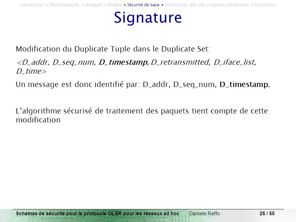 25 / 55 Signature Modification du Duplicate Tuple dans le Duplicate Set: Un message est donc identifié par: D_addr, D_seq_num, D_timestamp. Lalgorithm