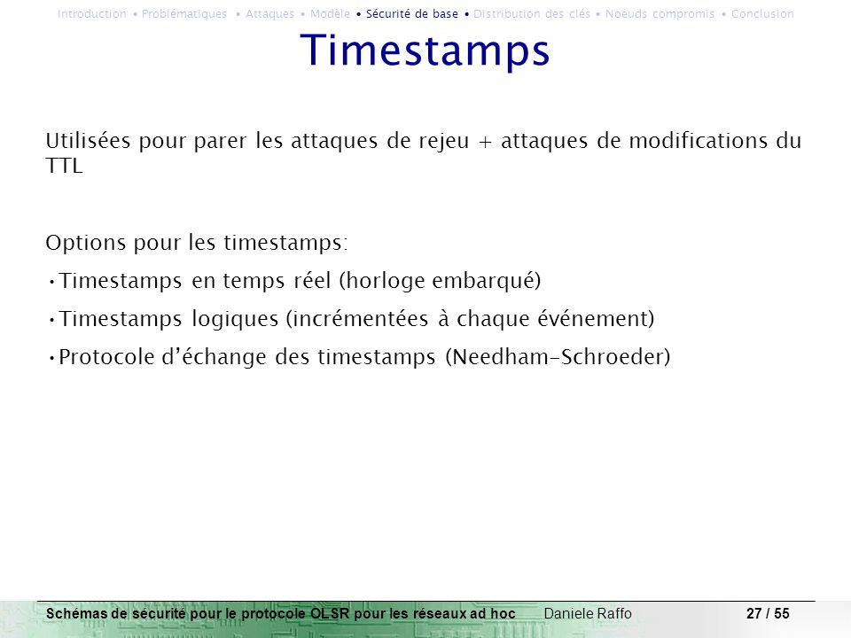 27 / 55 Timestamps Utilisées pour parer les attaques de rejeu + attaques de modifications du TTL Options pour les timestamps: Timestamps en temps réel
