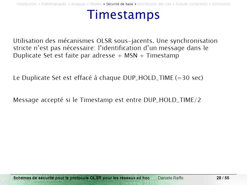 28 / 55 Timestamps Utilisation des mécanismes OLSR sous-jacents. Une synchronisation stricte nest pas nécessaire: lidentification dun message dans le