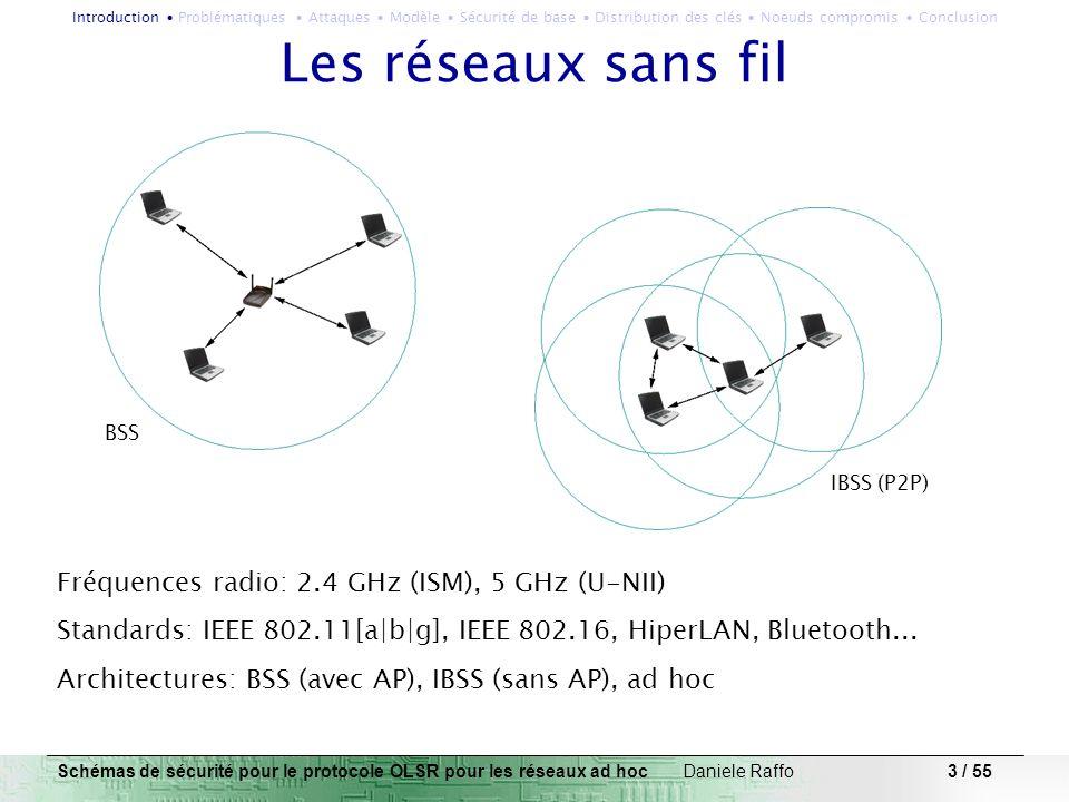 3 / 55 Les réseaux sans fil Fréquences radio: 2.4 GHz (ISM), 5 GHz (U-NII) Standards: IEEE 802.11[a|b|g], IEEE 802.16, HiperLAN, Bluetooth... Architec