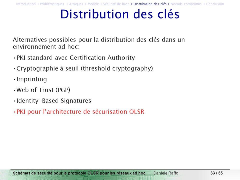 33 / 55 Distribution des clés Alternatives possibles pour la distribution des clés dans un environnement ad hoc: PKI standard avec Certification Autho