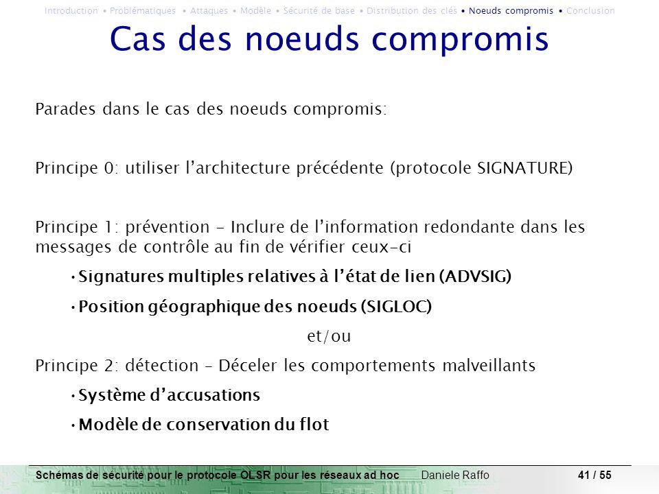 41 / 55 Cas des noeuds compromis Parades dans le cas des noeuds compromis: Principe 0: utiliser larchitecture précédente (protocole SIGNATURE) Princip