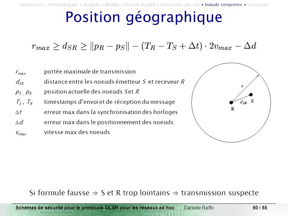 50 / 55 Position géographique r max portée maximale de transmission d SR distance entre les noeuds émetteur S et receveur R p S, p R position actuelle