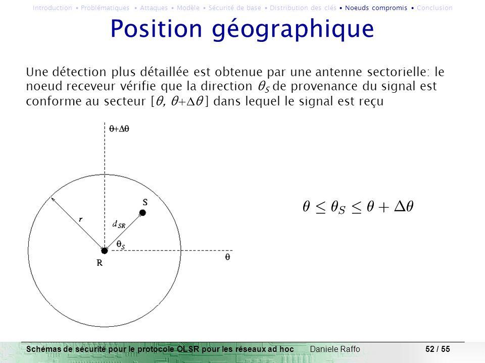 52 / 55 Position géographique Une détection plus détaillée est obtenue par une antenne sectorielle: le noeud receveur vérifie que la direction θ S de