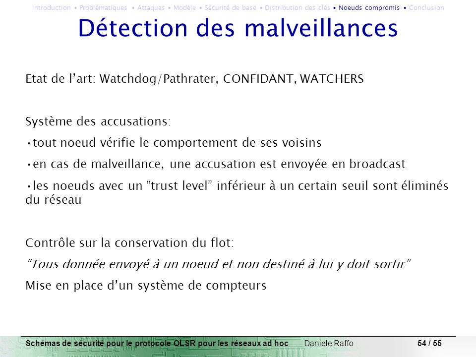 54 / 55 Détection des malveillances Etat de lart: Watchdog/Pathrater, CONFIDANT, WATCHERS Système des accusations: tout noeud vérifie le comportement