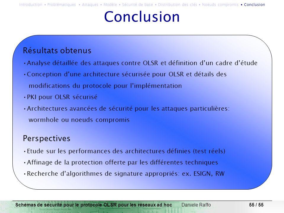 55 / 55 Résultats obtenus Analyse détaillée des attaques contre OLSR et définition dun cadre détude Conception dune architecture sécurisée pour OLSR e