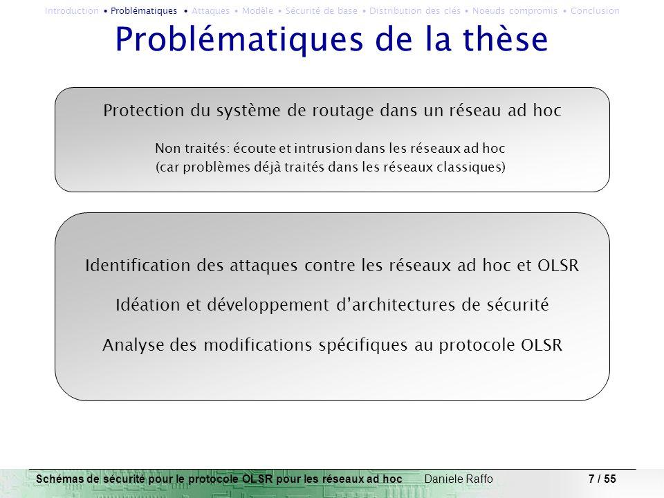 7 / 55 Problématiques de la thèse Schémas de sécurité pour le protocole OLSR pour les réseaux ad hoc Daniele Raffo Identification des attaques contre