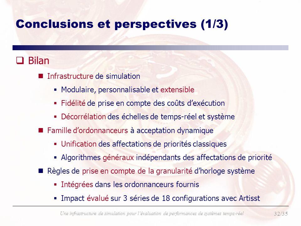 32/35 Une infrastructure de simulation pour lévaluation de performances de systèmes temps-réel Conclusions et perspectives (1/3) qBilan nInfrastructur