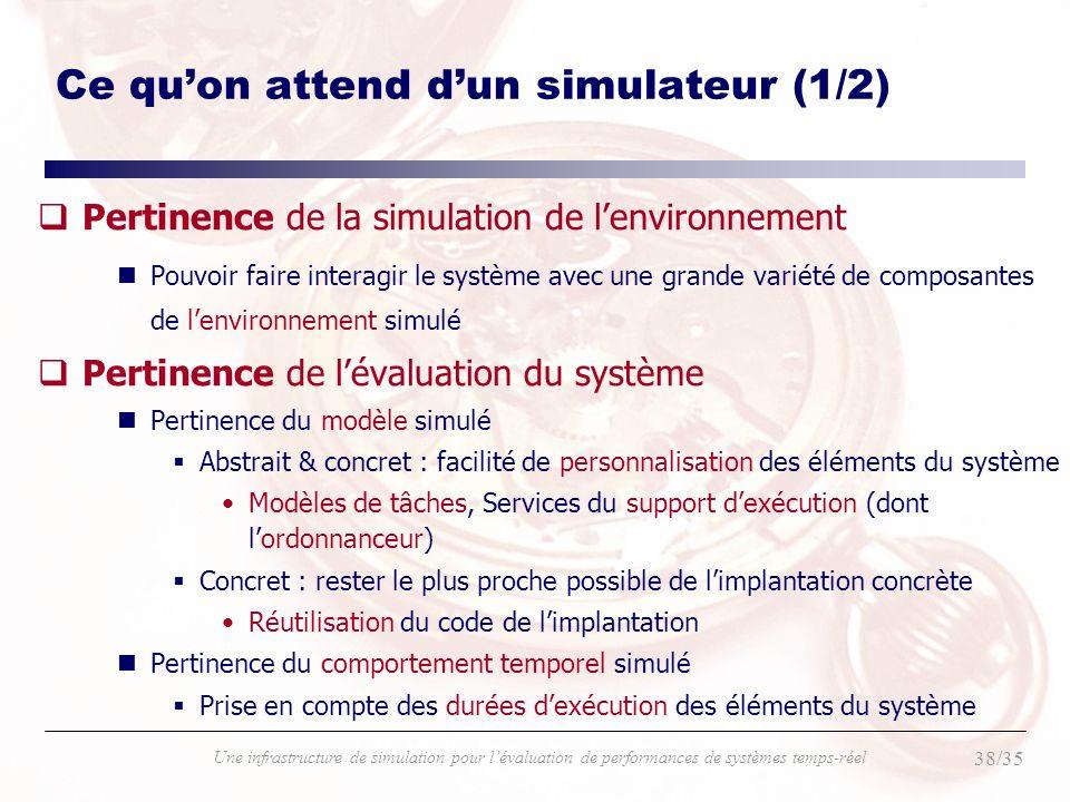 38/35 Une infrastructure de simulation pour lévaluation de performances de systèmes temps-réel Ce quon attend dun simulateur (1/2) qPertinence de la s