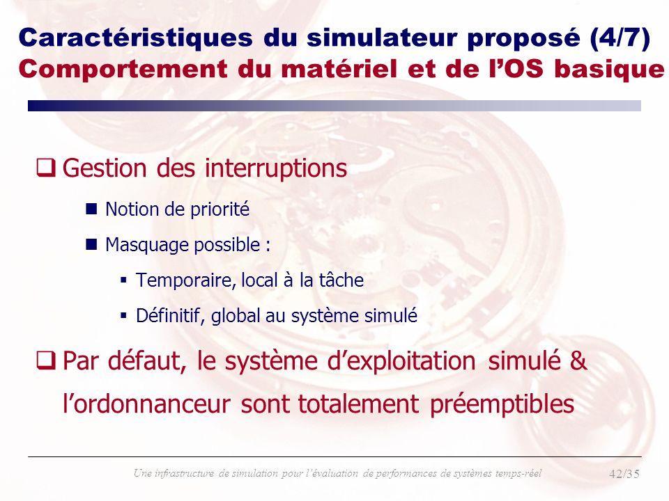42/35 Une infrastructure de simulation pour lévaluation de performances de systèmes temps-réel Caractéristiques du simulateur proposé (4/7) Comporteme