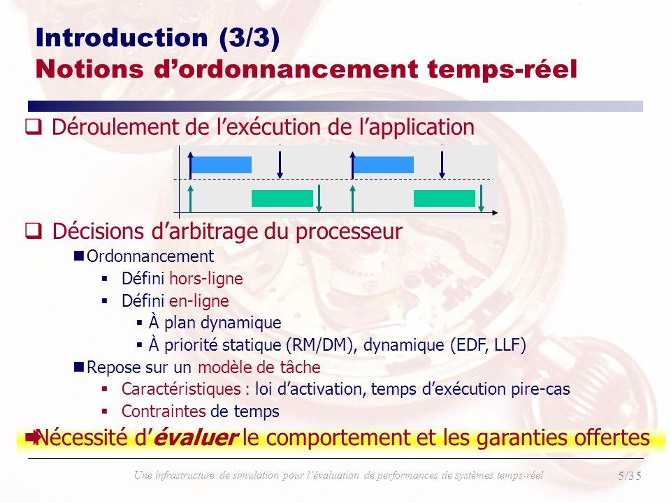 36/35 Une infrastructure de simulation pour lévaluation de performances de systèmes temps-réel Introduction (4/4) Problématique qQuand tous les comportements temporels nDu système (exécution des tâches, support dexécution, …) et nDe ses interactions avec lenvironnement (lois dactivations, …) sont totalement caractérisés Il peut exister des conditions de faisabilité associées à un ordonnancement Exemples : (EDF, LLF), (RM) qSinon : Moins de contraintes moins de garanties Nécessité d évaluer le comportement et les garanties offertes