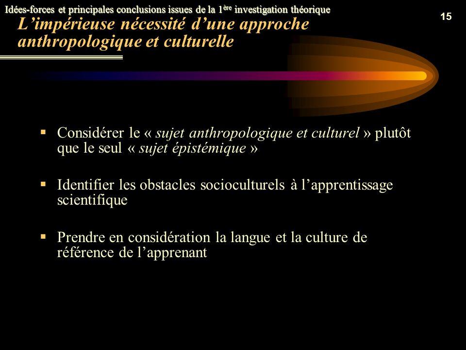 14 Deux visions épistémologiques contrastées des savoirs scientifiques La vision empiriste positiviste La vision socioconstructiviste Idées-forces et