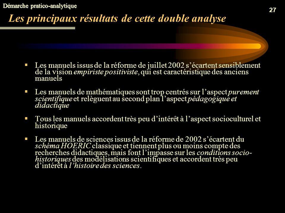 26 La description de la démarche Deux techniques danalyse complémentaires ont été mises en œuvre: La méthode quantitative: (a concerné lanalyse global