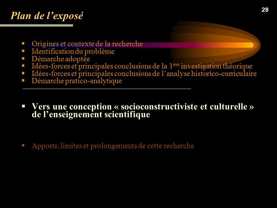 27 Les principaux résultats de cette double analyse Les manuels issus de la réforme de juillet 2002 sécartent sensiblement de la vision empiriste posi