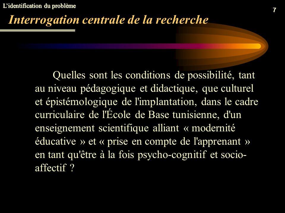 7 Interrogation centrale de la recherche Quelles sont les conditions de possibilité, tant au niveau pédagogique et didactique, que culturel et épistémologique de l implantation, dans le cadre curriculaire de l École de Base tunisienne, d un enseignement scientifique alliant « modernité éducative » et « prise en compte de l apprenant » en tant qu être à la fois psycho-cognitif et socio- affectif .