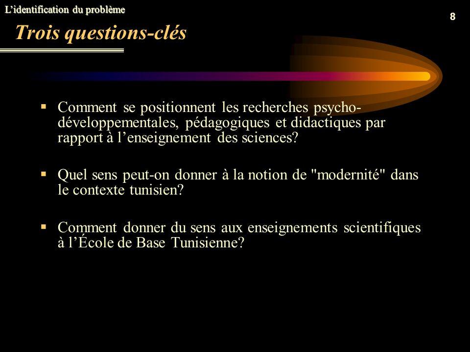 8 Trois questions-clés Comment se positionnent les recherches psycho- développementales, pédagogiques et didactiques par rapport à lenseignement des sciences.