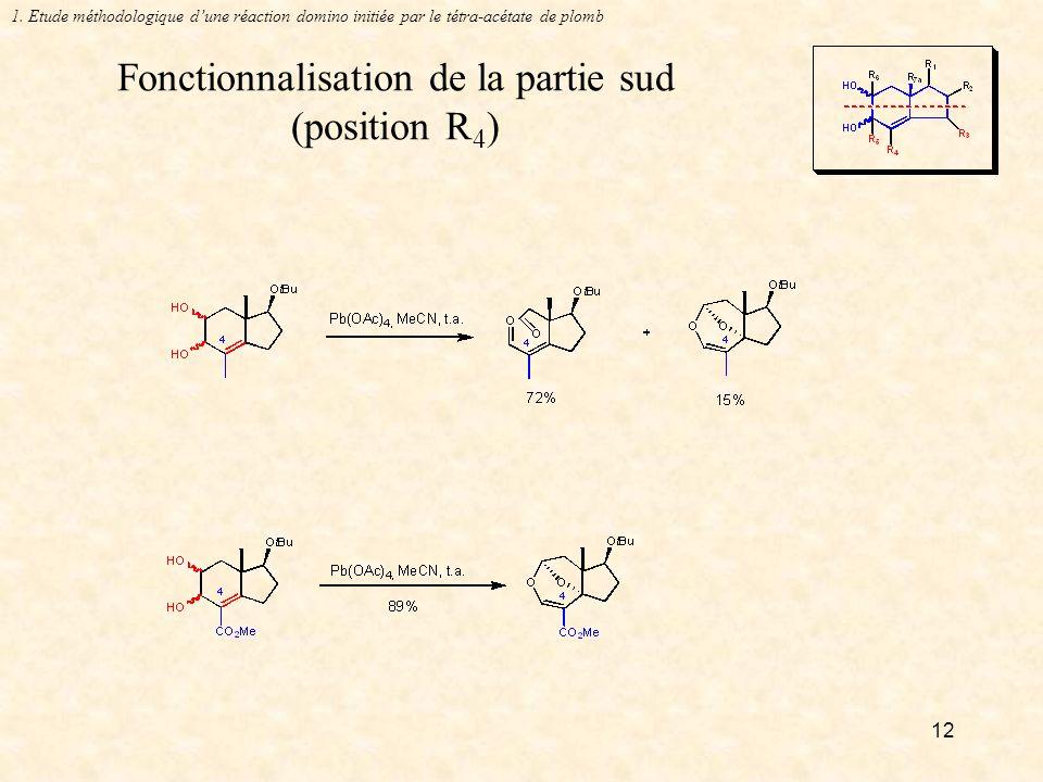 12 Fonctionnalisation de la partie sud (position R 4 ) 1.