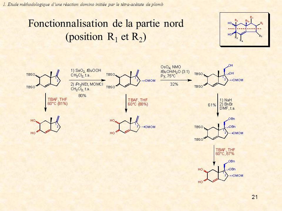 21 Fonctionnalisation de la partie nord (position R 1 et R 2 ) 1.