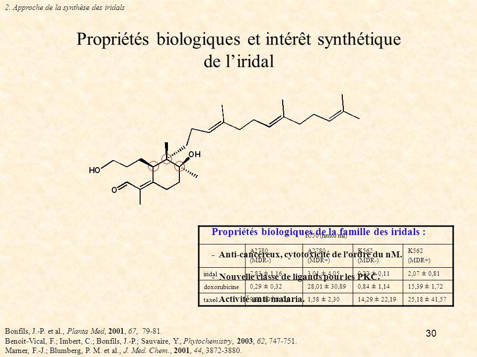 30 Propriétés biologiques et intérêt synthétique de liridal Bonfils, J.-P.