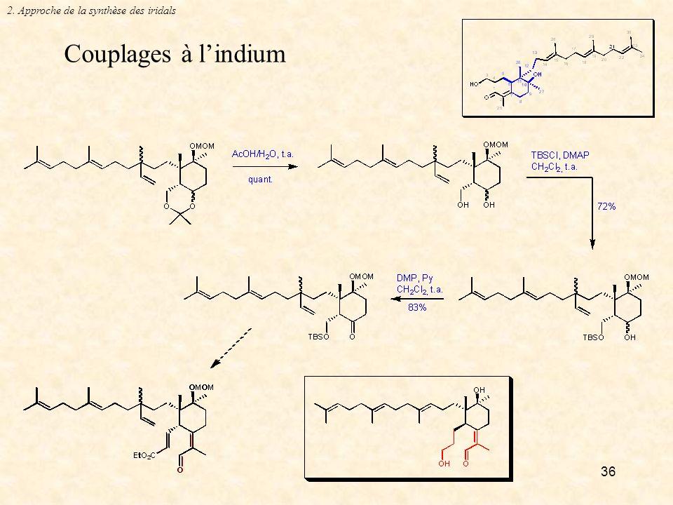 36 Couplages à lindium 2. Approche de la synthèse des iridals
