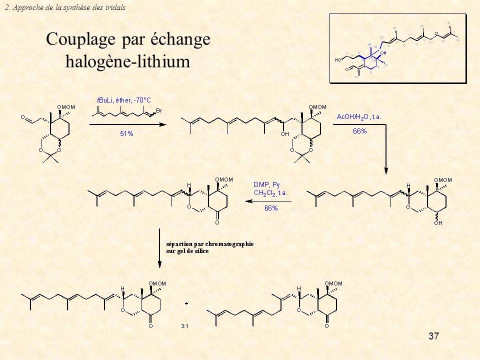 37 Couplage par échange halogène-lithium 2. Approche de la synthèse des iridals