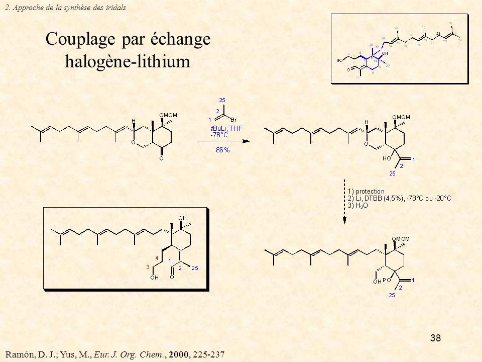 38 Couplage par échange halogène-lithium 2.Approche de la synthèse des iridals Ramón, D.