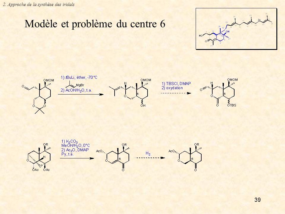 39 Modèle et problème du centre 6 2. Approche de la synthèse des iridals