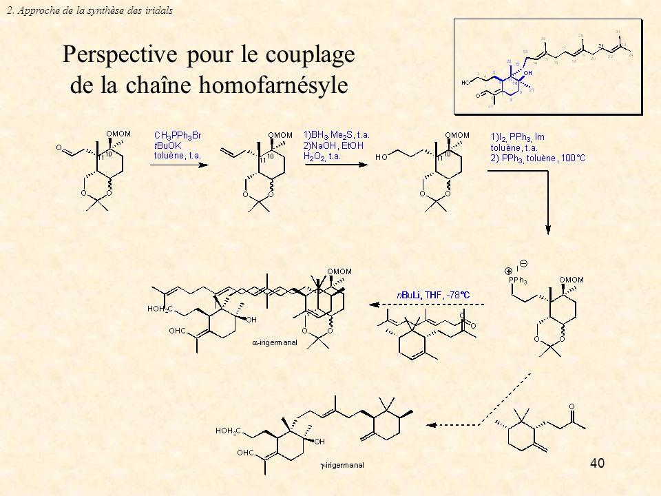 40 Perspective pour le couplage de la chaîne homofarnésyle 2. Approche de la synthèse des iridals