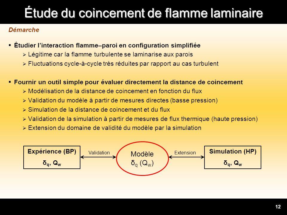 Étude du coincement de flamme laminaire 12 Démarche Étudier linteraction flamme–paroi en configuration simplifiée Légitime car la flamme turbulente se