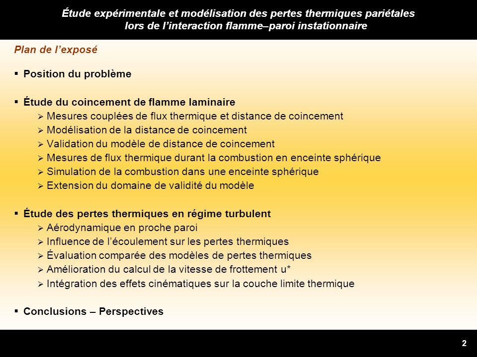 2 Plan de lexposé Position du problème Étude du coincement de flamme laminaire Mesures couplées de flux thermique et distance de coincement Modélisati